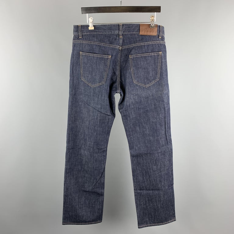 PRADA Size 33 Indigo Contrast Stitch Denim Button Fly Jeans In Excellent Condition For Sale In San Francisco, CA