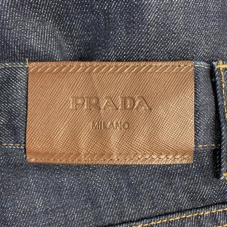 PRADA Size 33 Indigo Contrast Stitch Denim Button Fly Jeans For Sale 1
