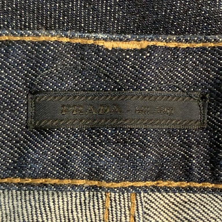 PRADA Size 33 Indigo Contrast Stitch Denim Button Fly Jeans For Sale 2