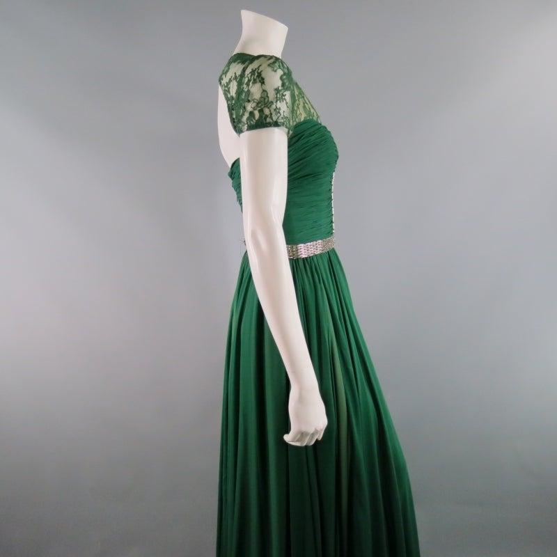 2012s REEM ACRA Size 4 Emerald Silk Art Deco Gown/Evening Wear at ...