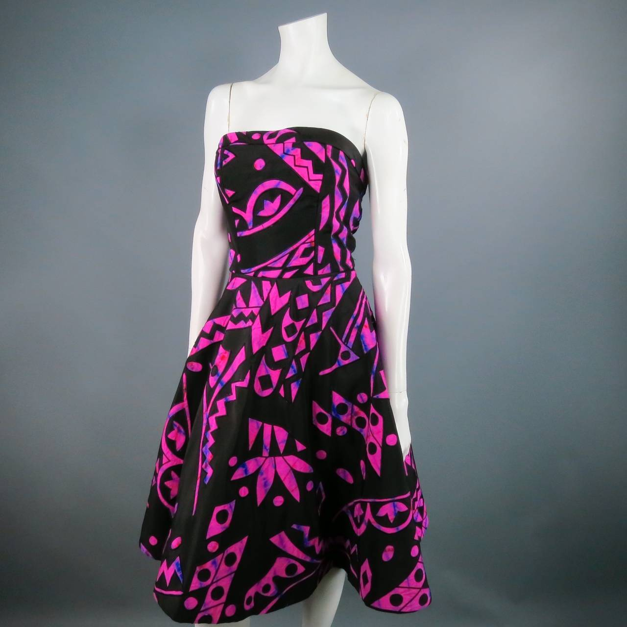 2015's OSCAR DE LA RENTA Size 4 Fuschia Silk Strapless Tribal Cocktail Dress 4