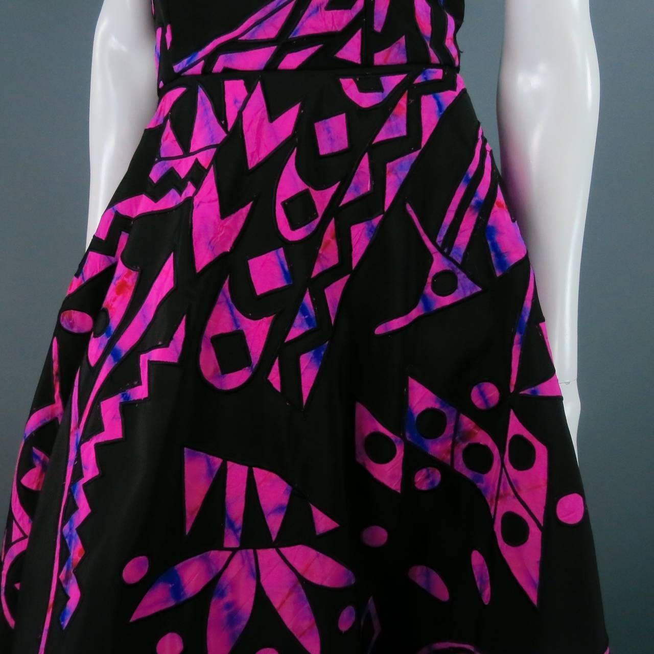 2015's OSCAR DE LA RENTA Size 4 Fuschia Silk Strapless Tribal Cocktail Dress For Sale 1