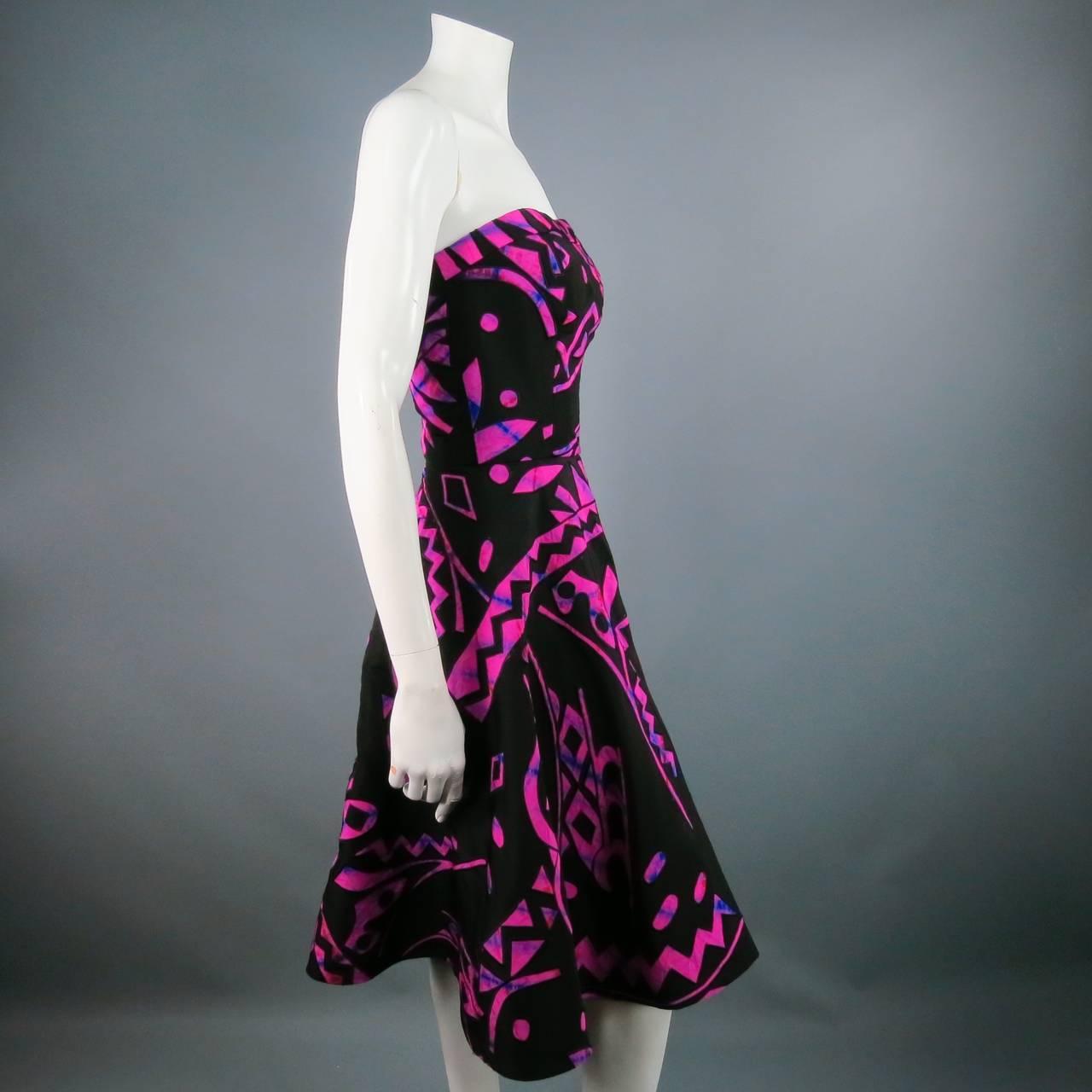 2015's OSCAR DE LA RENTA Size 4 Fuschia Silk Strapless Tribal Cocktail Dress 3