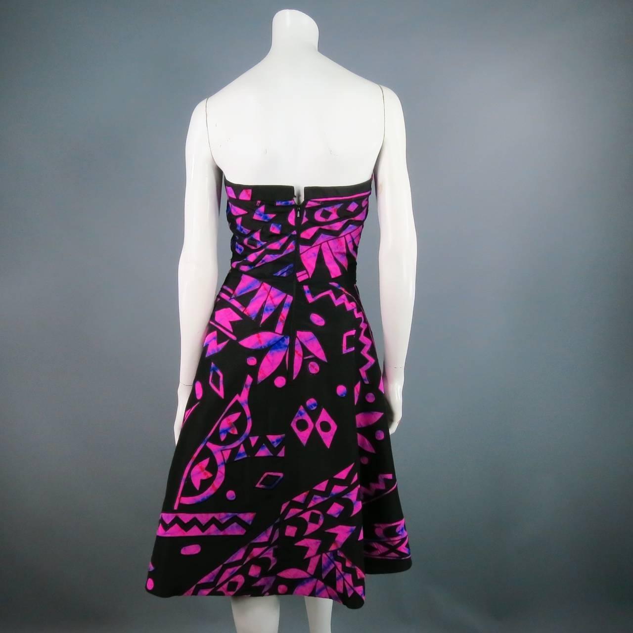 2015's OSCAR DE LA RENTA Size 4 Fuschia Silk Strapless Tribal Cocktail Dress 5