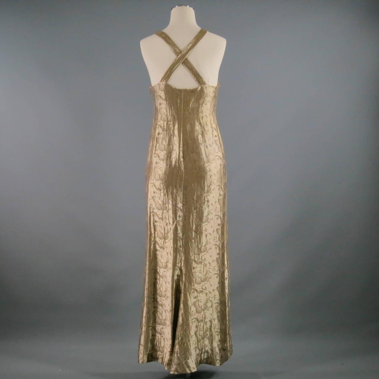 RALPH LAUREN Size 4 Platinum Metallic Polyester Silk Art Deco Gown ...