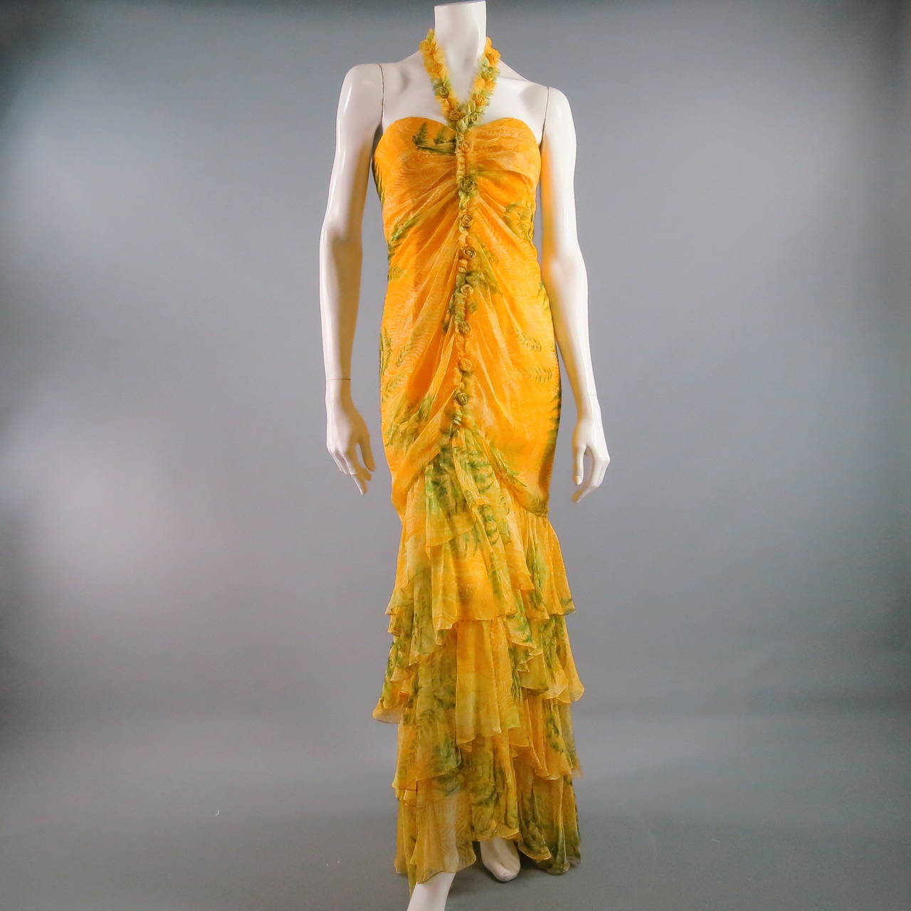OSCAR DE LA RENTA Dress 8 Yellow Silk Straples Ruffled  Gown/Day/Evening Wear 7