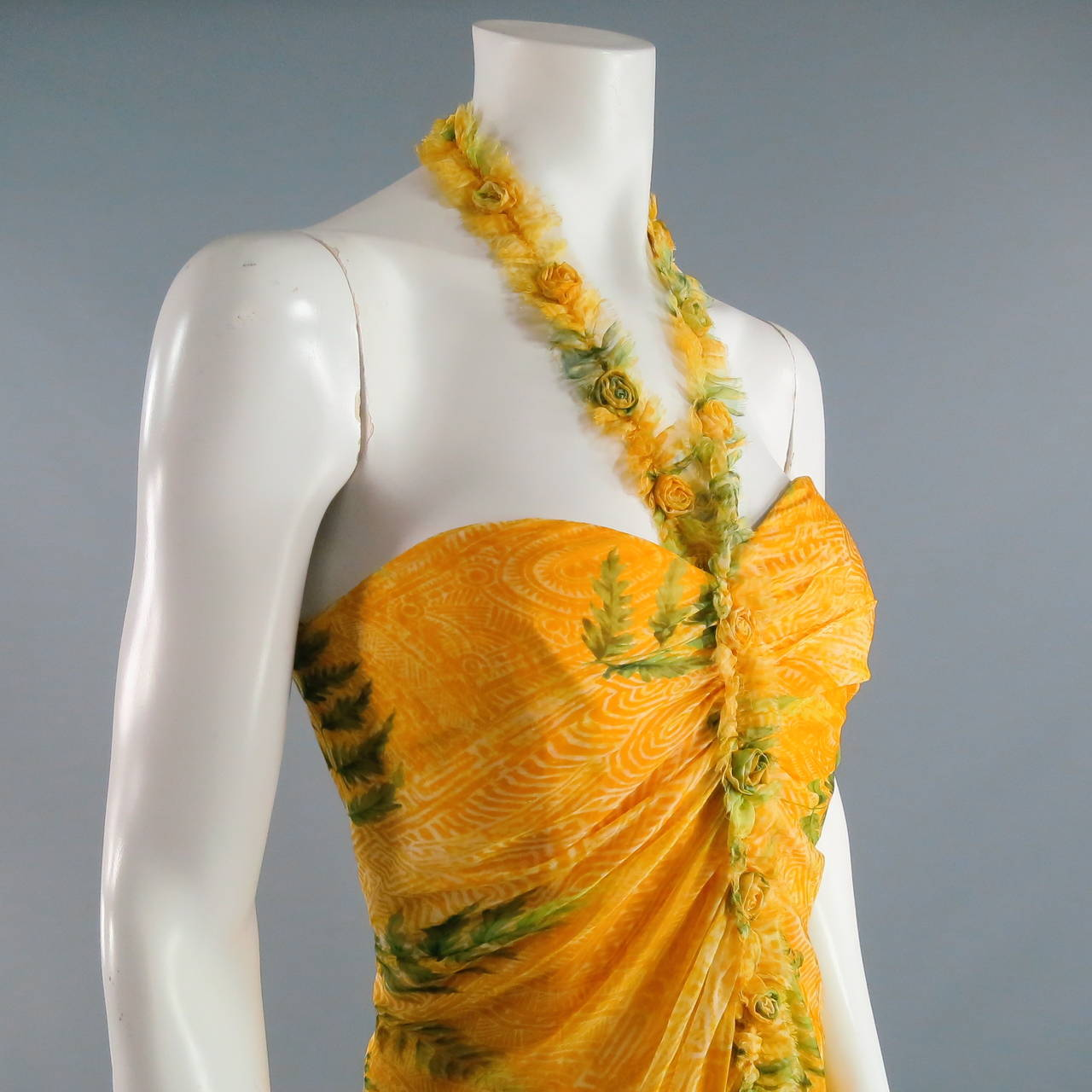 OSCAR DE LA RENTA Dress 8 Yellow Silk Straples Ruffled  Gown/Day/Evening Wear 2