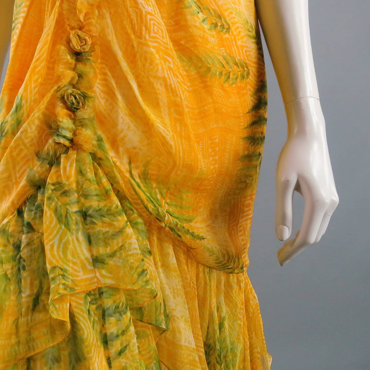 OSCAR DE LA RENTA Dress 8 Yellow Silk Straples Ruffled  Gown/Day/Evening Wear 3
