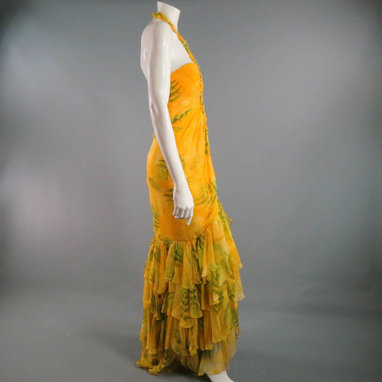 OSCAR DE LA RENTA Dress 8 Yellow Silk Straples Ruffled  Gown/Day/Evening Wear 4