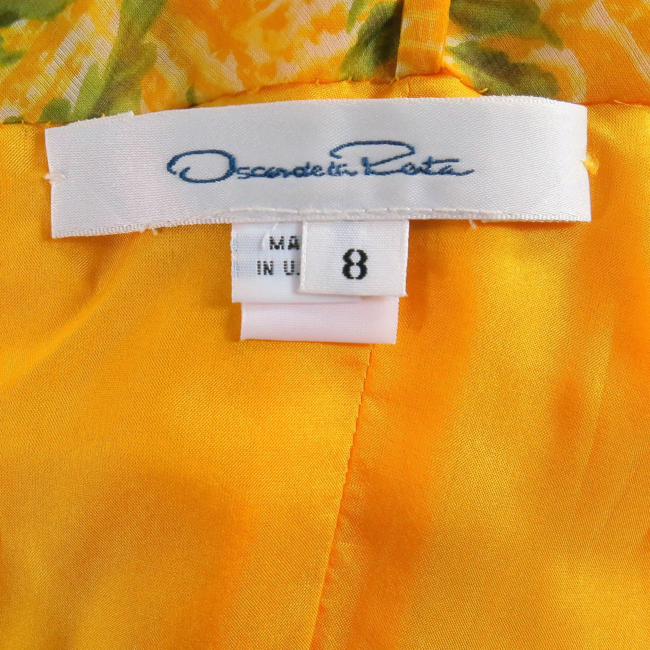 OSCAR DE LA RENTA Dress 8 Yellow Silk Straples Ruffled  Gown/Day/Evening Wear 5