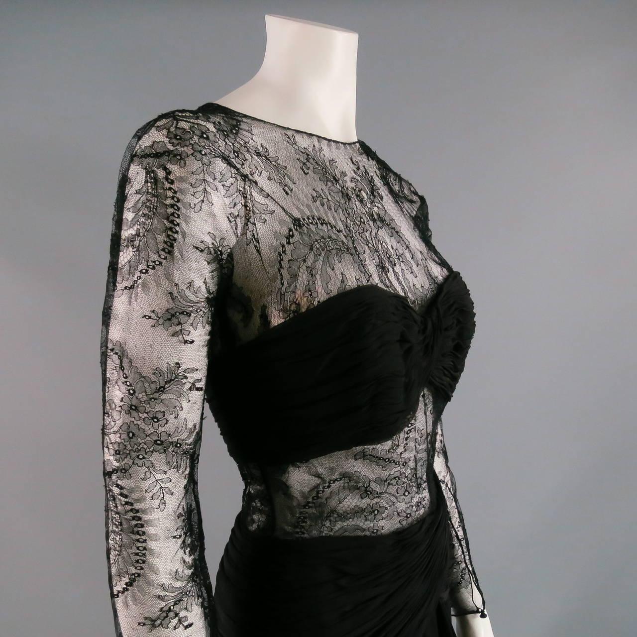 1990's OSCAR DE LA RENTA Size 8 Black Silk Lace Long Sleeve Gown/Evening Wear 2
