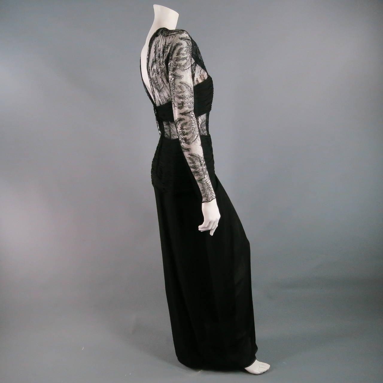 Women's 1990's OSCAR DE LA RENTA Size 8 Black Silk Lace Long Sleeve Gown/Evening Wear For Sale