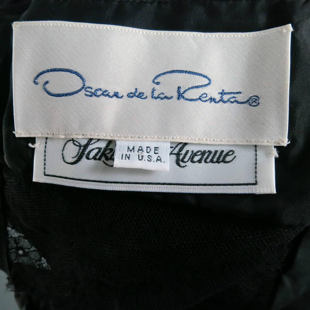 1990's OSCAR DE LA RENTA Size 8 Black Silk Lace Long Sleeve Gown/Evening Wear 6