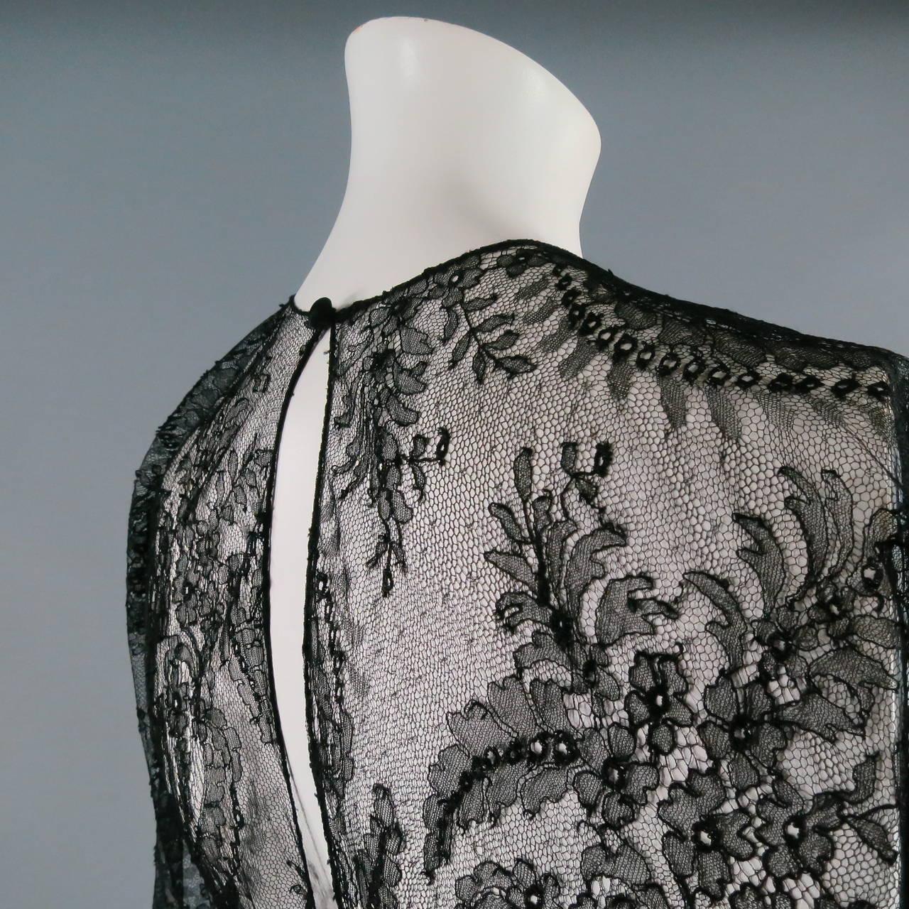 1990's OSCAR DE LA RENTA Size 8 Black Silk Lace Long Sleeve Gown/Evening Wear For Sale 1
