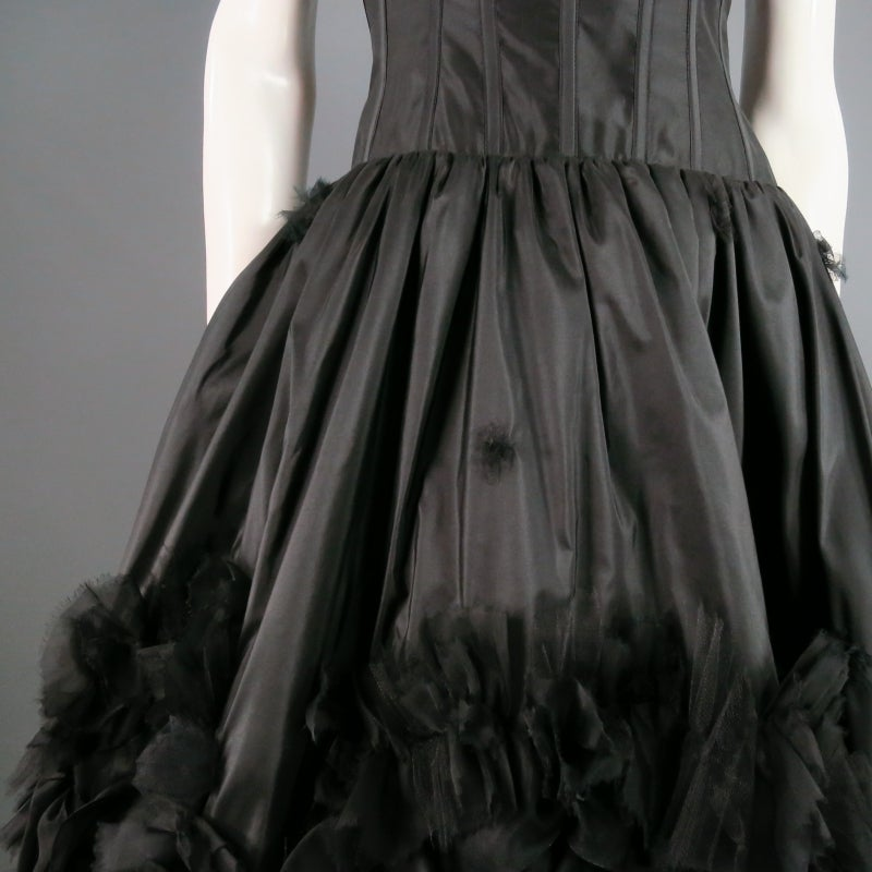 2007s OSCAR DE LA RENTA Size 6 Black Silk Cocktail Dress, Large Floral Detail 3