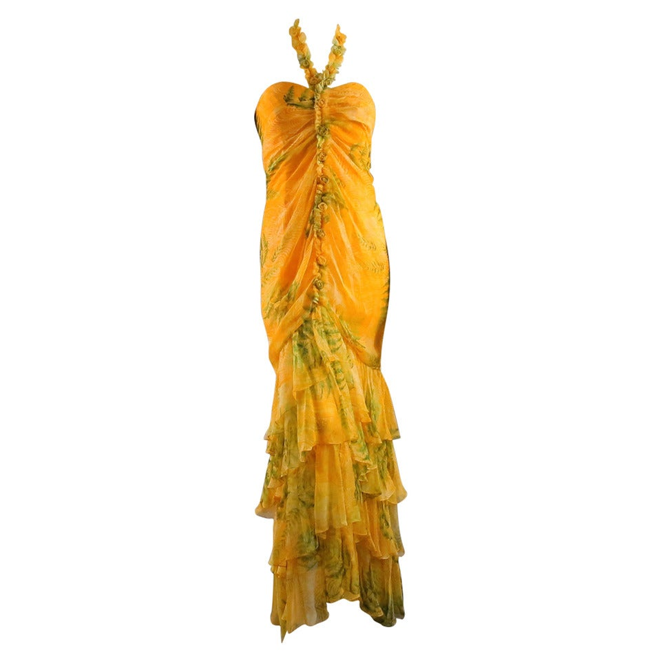 Oscar de la Renta Yellow Silk Strapless Ruffled Gown/Day/Evening Wear Dress