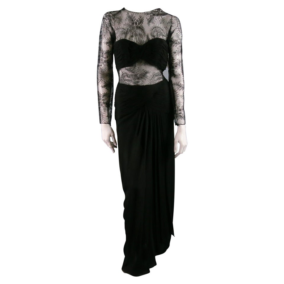 1990's OSCAR DE LA RENTA Size 8 Black Silk Lace Long Sleeve Gown/Evening Wear For Sale
