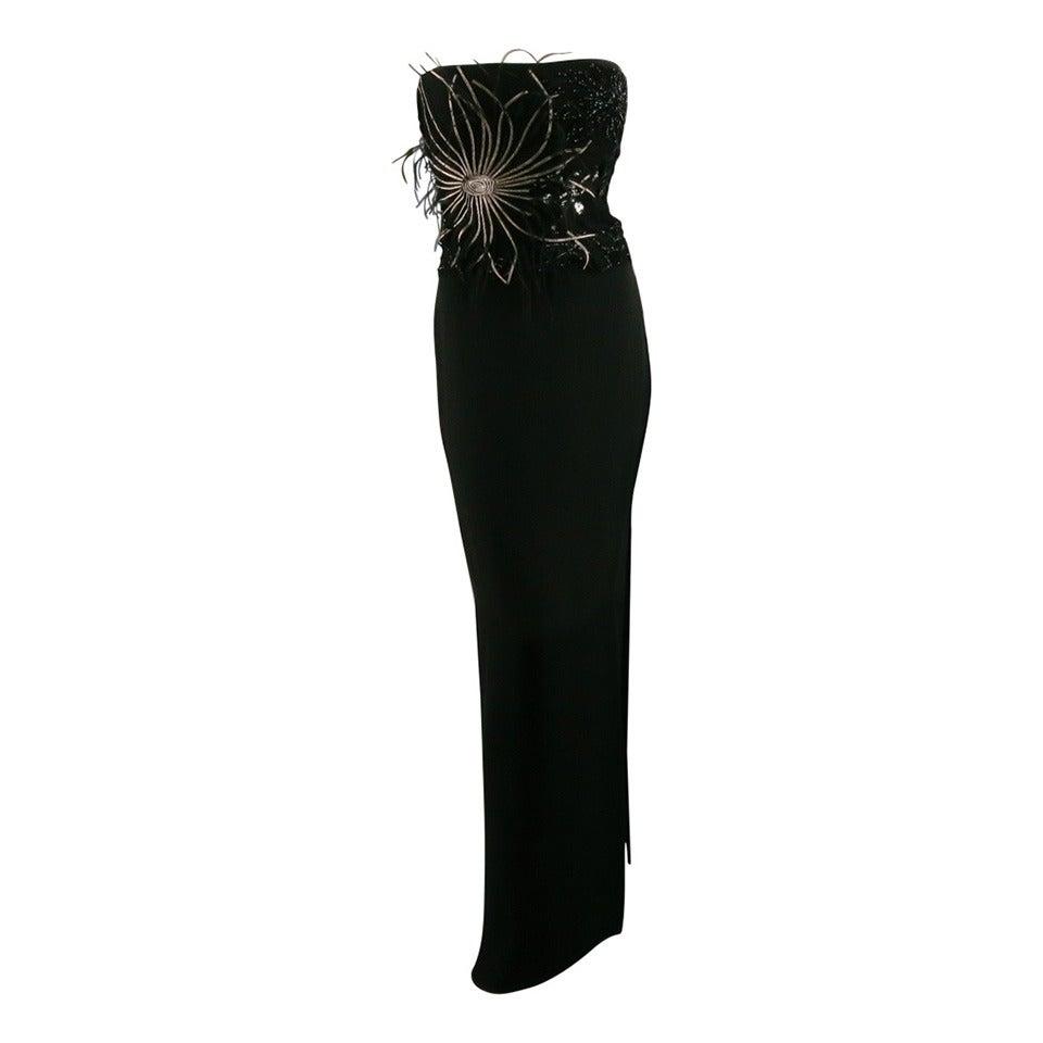 1990's RICHARD TYLER Dress Size 10 Black Jersey Gown/Evening Wear