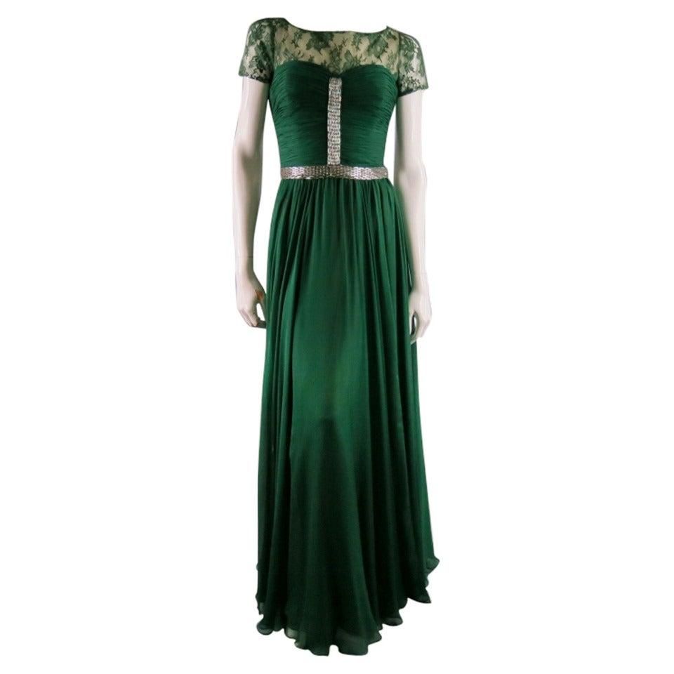 2012s Reem Acra Size 4 Emerald Silk Art Deco Gown Evening