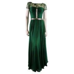 2012s REEM ACRA Size 4 Emerald Silk Art Deco Gown/Evening Wear