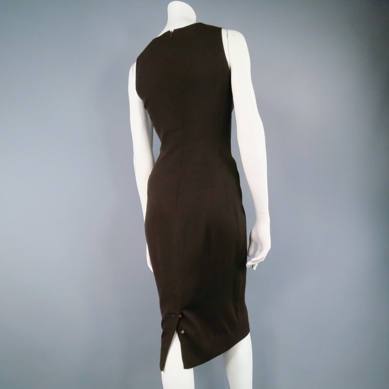 Vintage Classic CHANEL Size 8 Brown Silk/lycra Fiited Dress 2