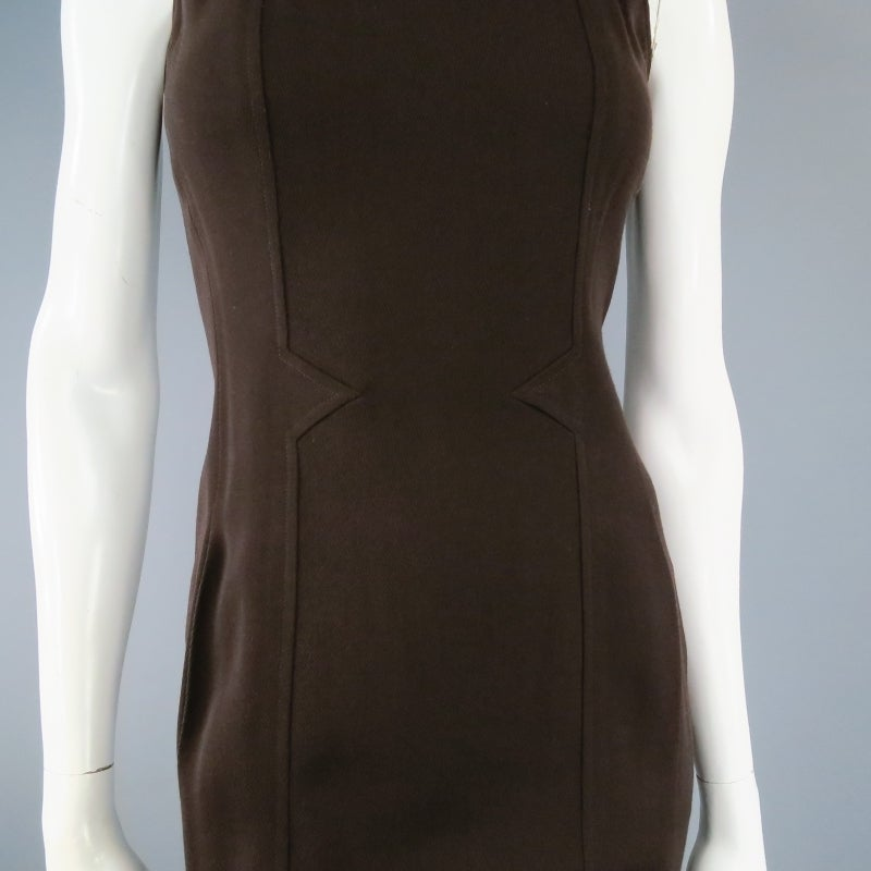 Vintage Classic CHANEL Size 8 Brown Silk/lycra Fiited Dress 4