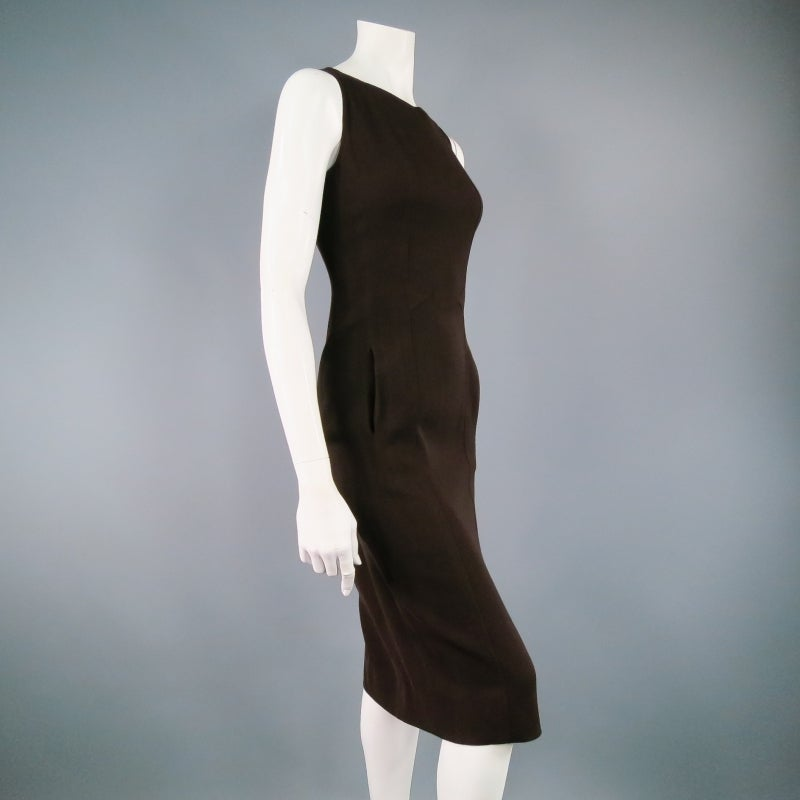 Vintage Classic CHANEL Size 8 Brown Silk/lycra Fiited Dress 3