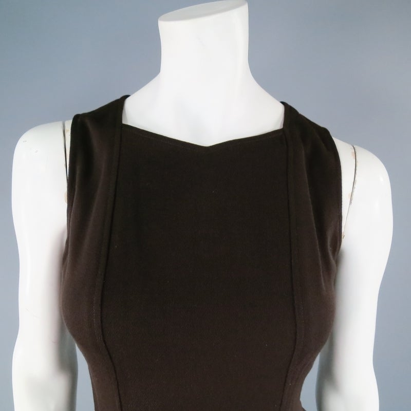 Vintage Classic CHANEL Size 8 Brown Silk/lycra Fiited Dress 5