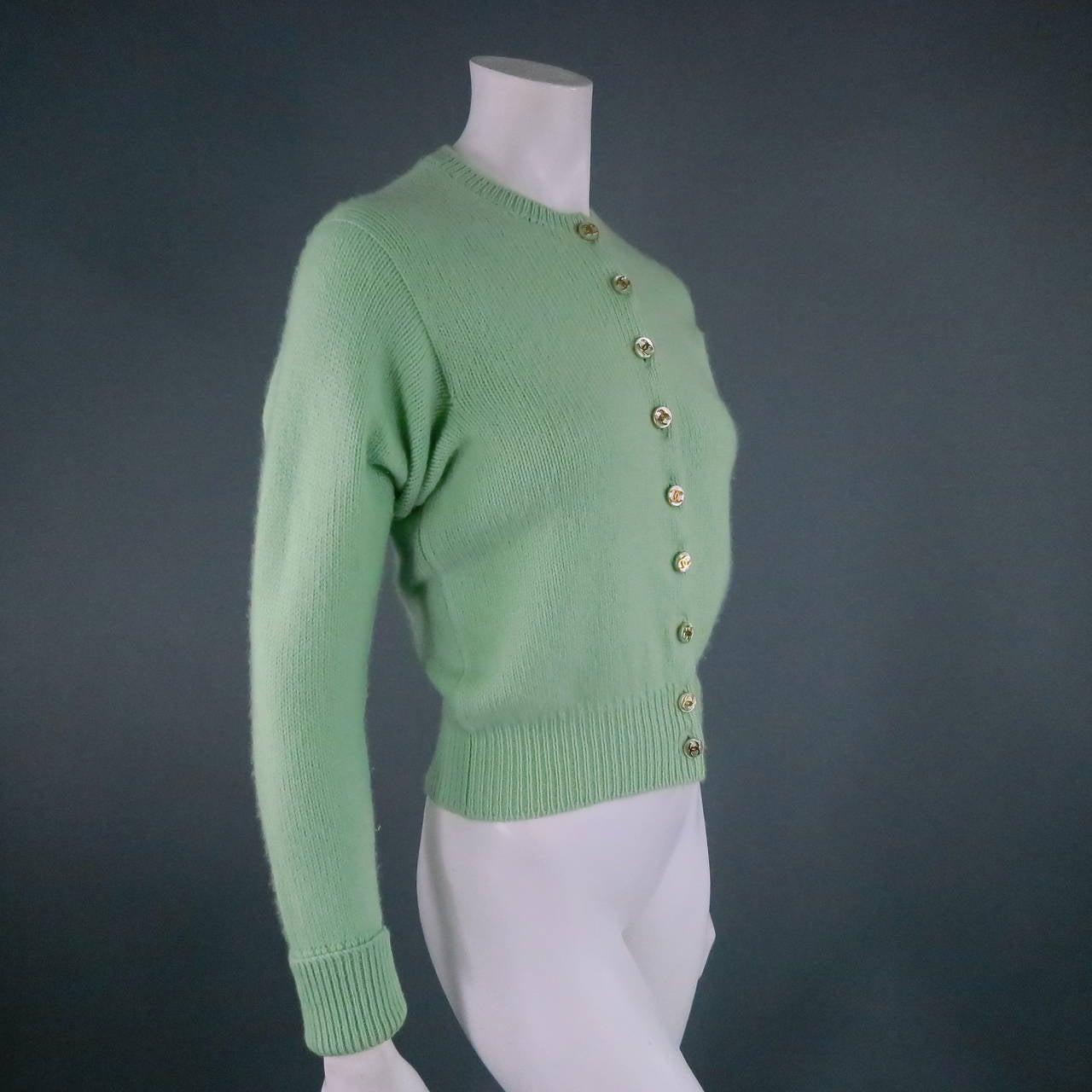 Vintage CHANEL Size M Mint Green Cashmere Cardigan 2