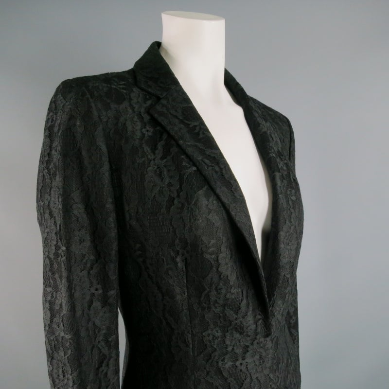 Vintage RICHARD TYLER  Size 10 Black Wool Lace Coat In Excellent Condition For Sale In San Francisco, CA