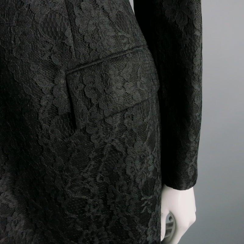 Women's Vintage RICHARD TYLER  Size 10 Black Wool Lace Coat For Sale