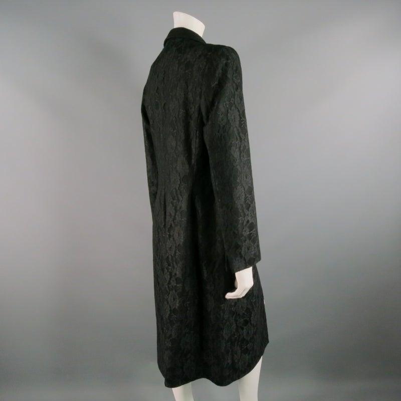 Vintage RICHARD TYLER  Size 10 Black Wool Lace Coat For Sale 1