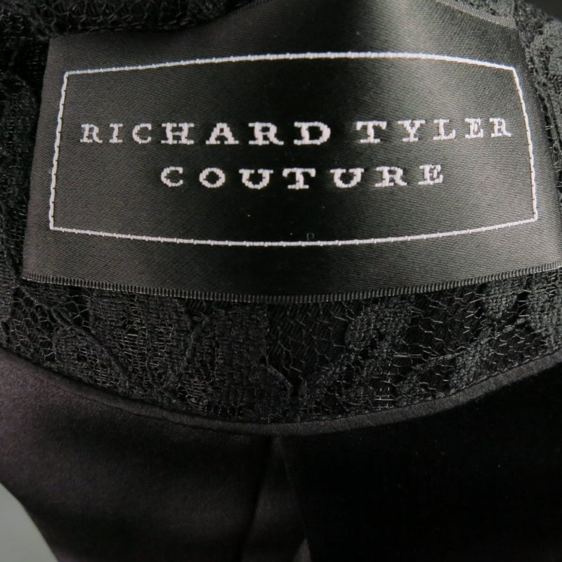 Vintage RICHARD TYLER  Size 10 Black Wool Lace Coat For Sale 3