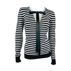 Classic CHANEL Size 6 Black and White Viscose Blend Stripe Sailor Sweater