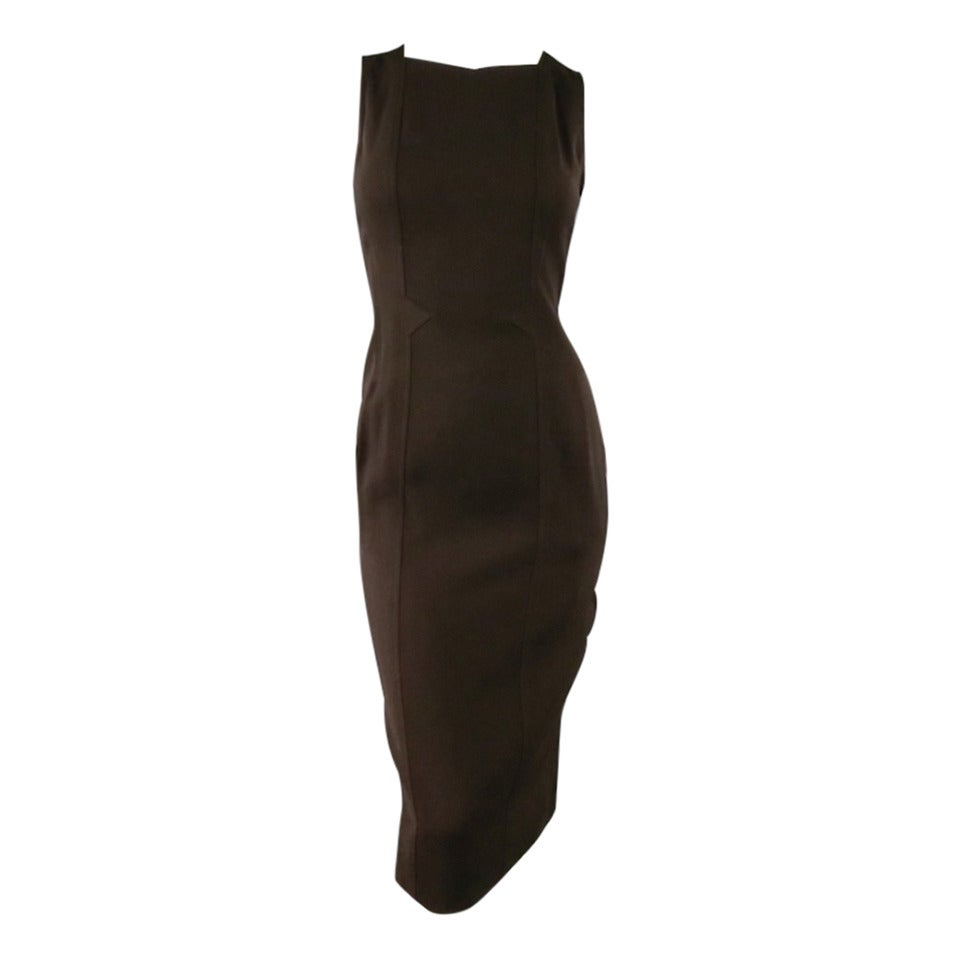 Vintage Classic CHANEL Size 8 Brown Silk/lycra Fiited Dress 1