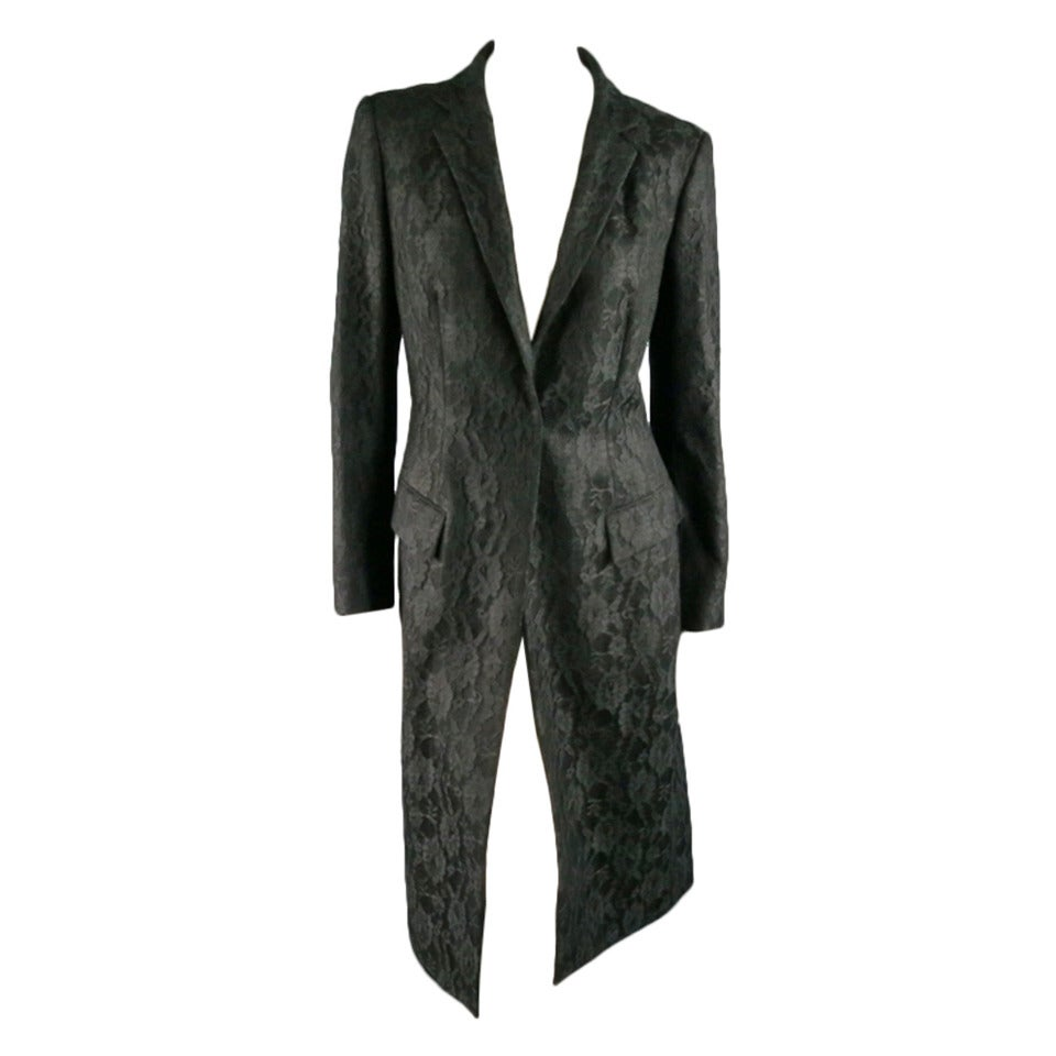 Vintage RICHARD TYLER  Size 10 Black Wool Lace Coat For Sale