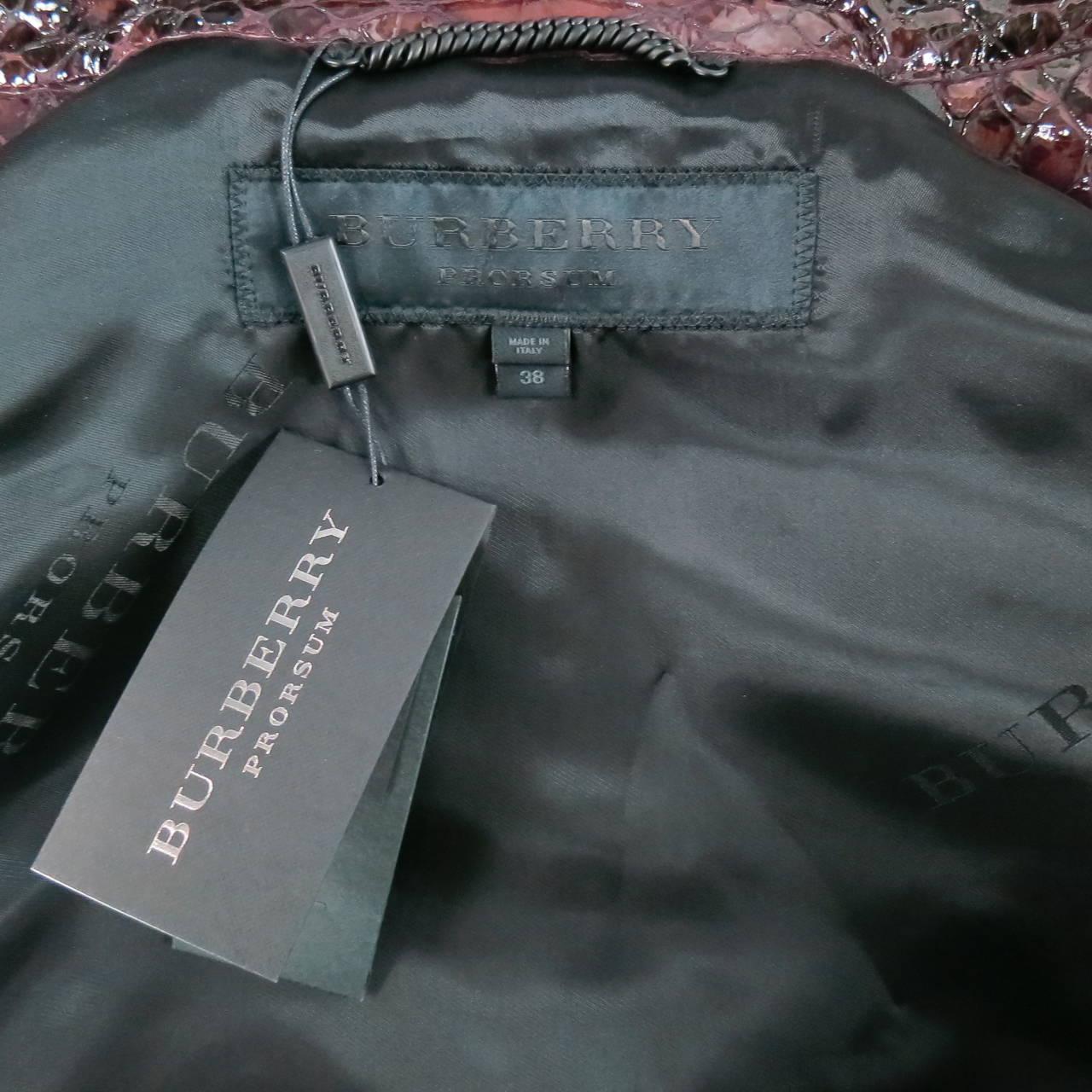 2013's BURBERRY PRORSUM Size 4 Burgundy Python Embossed Patent Leather Jacket 7