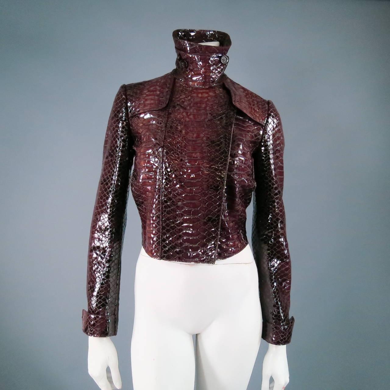 2013's BURBERRY PRORSUM Size 4 Burgundy Python Embossed Patent Leather Jacket 2