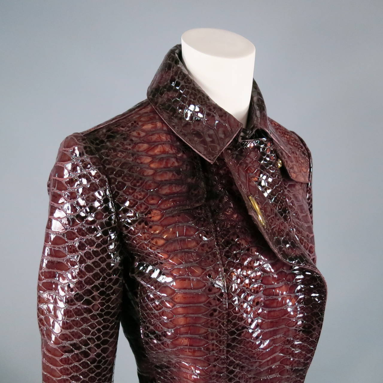 2013's BURBERRY PRORSUM Size 4 Burgundy Python Embossed Patent Leather Jacket 4