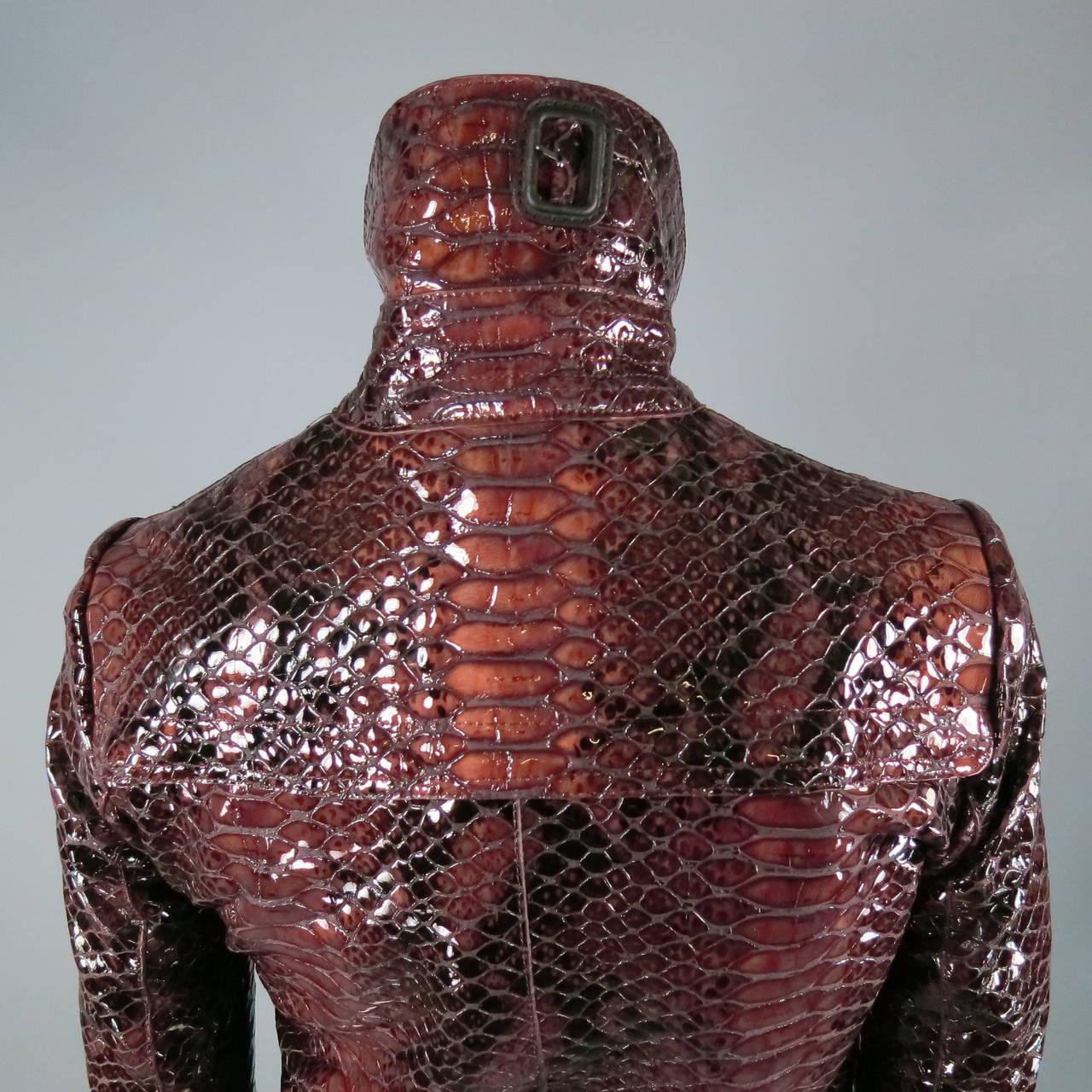2013's BURBERRY PRORSUM Size 4 Burgundy Python Embossed Patent Leather Jacket 6