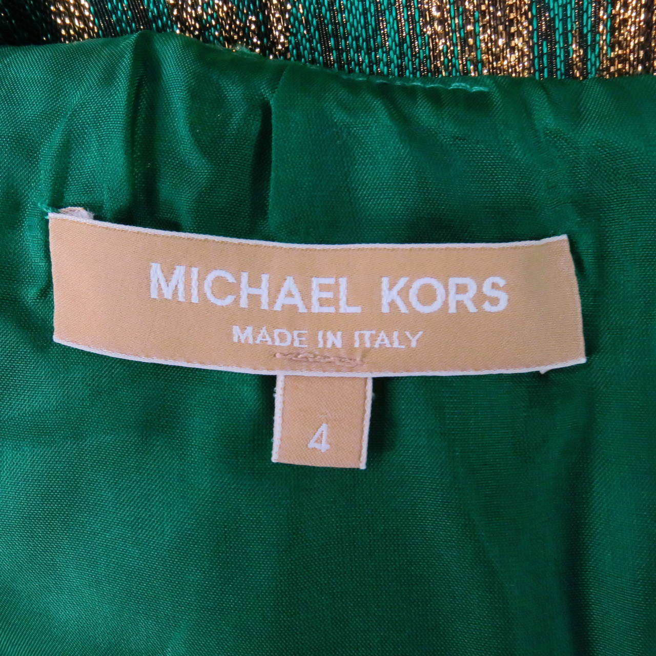 MICHAEL KORS Size 4 Green Polyester Blend Cocktail Dress 6