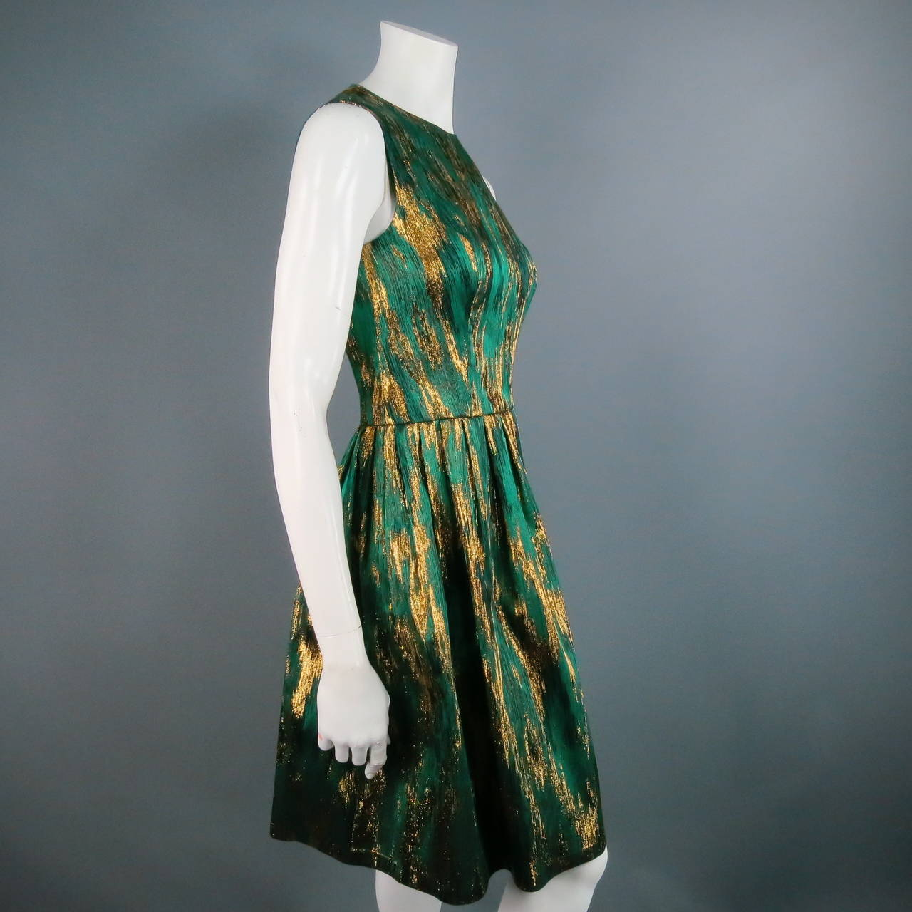 MICHAEL KORS Size 4 Green Polyester Blend Cocktail Dress 2