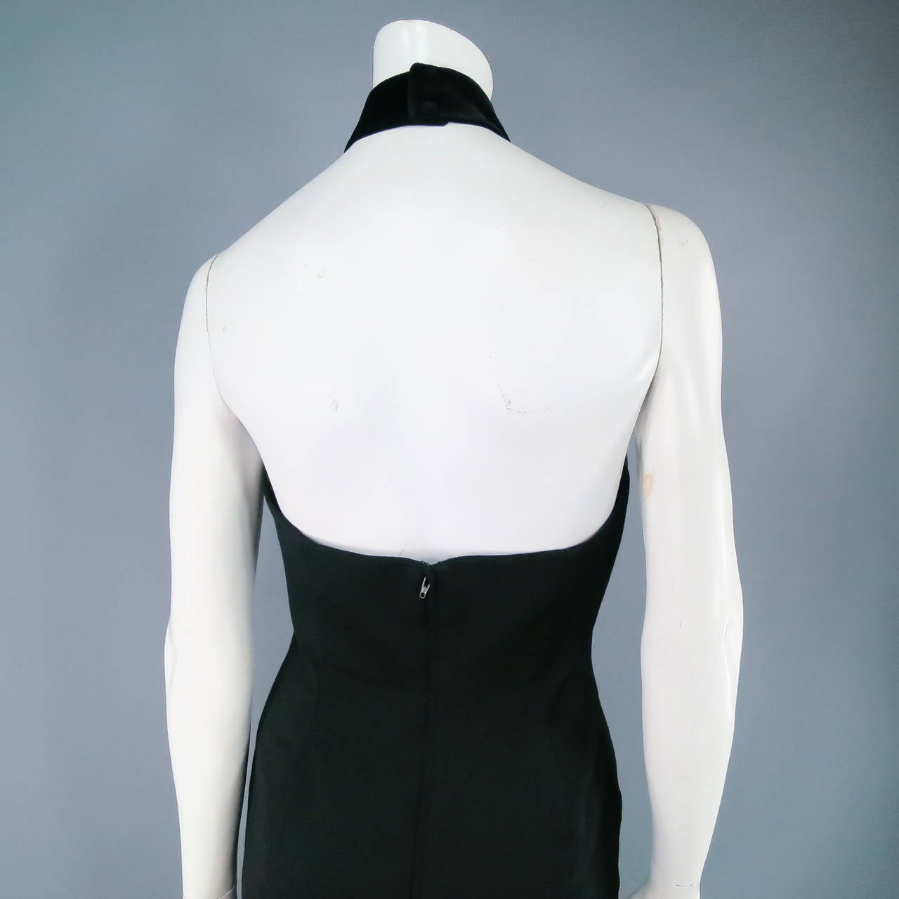THIERRY MUGLER Size 6 Black Cotton/Wool Cocktail Dress 6