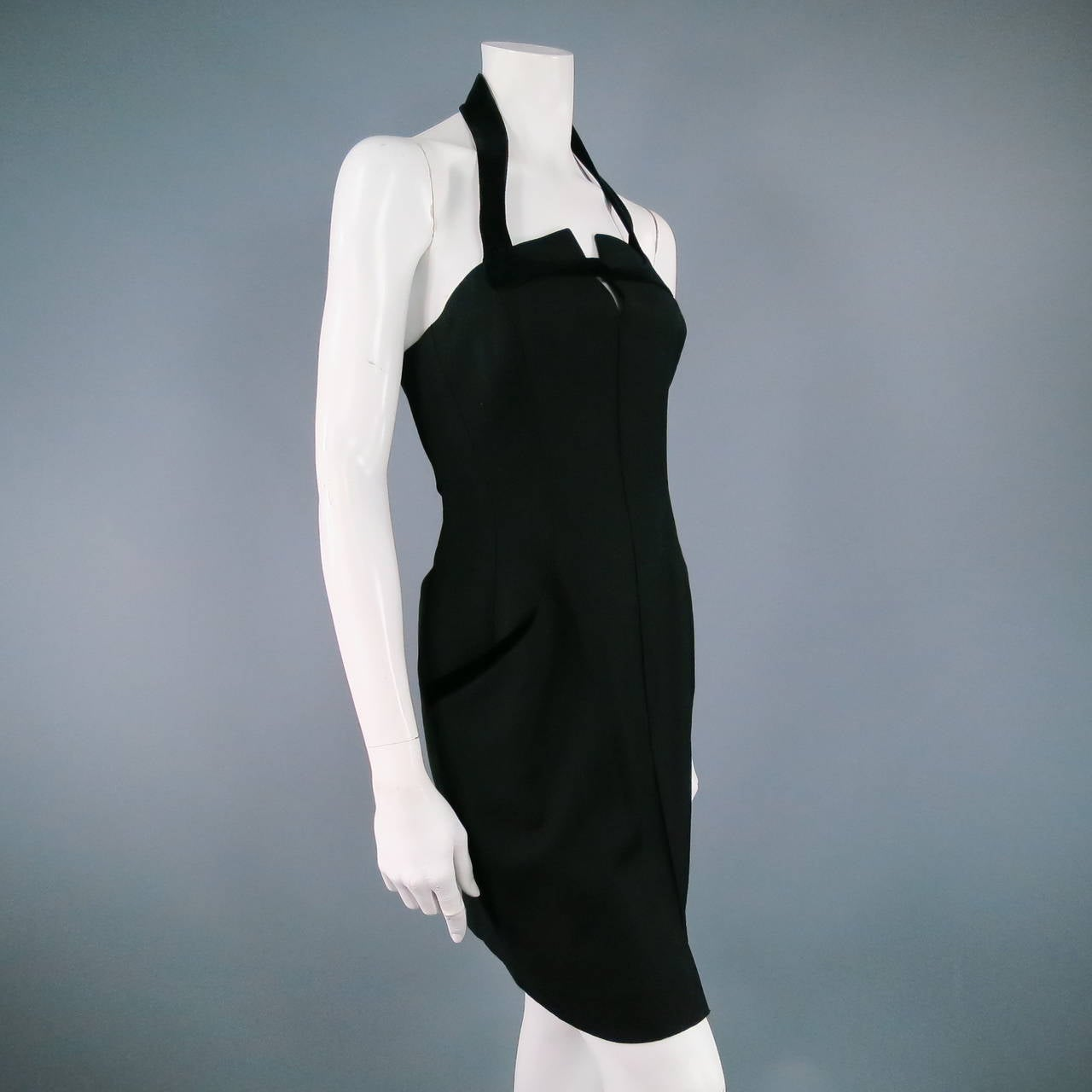 Women's THIERRY MUGLER Size 6 Black Cotton/Wool Cocktail Dress For Sale
