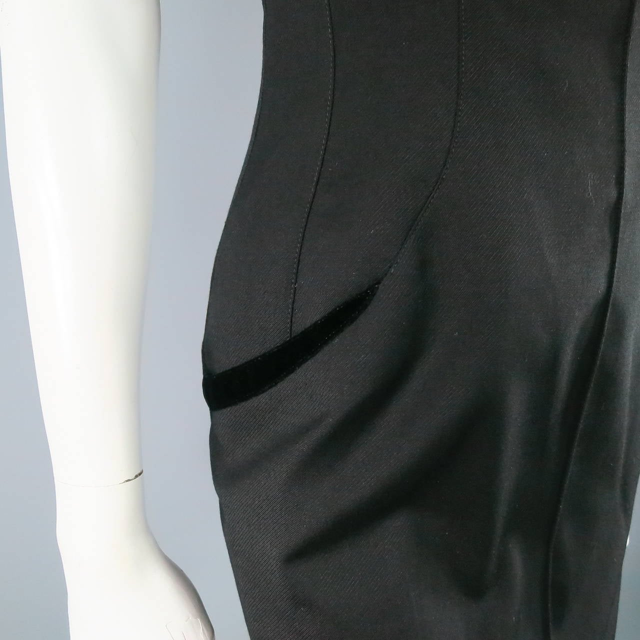THIERRY MUGLER Size 6 Black Cotton/Wool Cocktail Dress 5