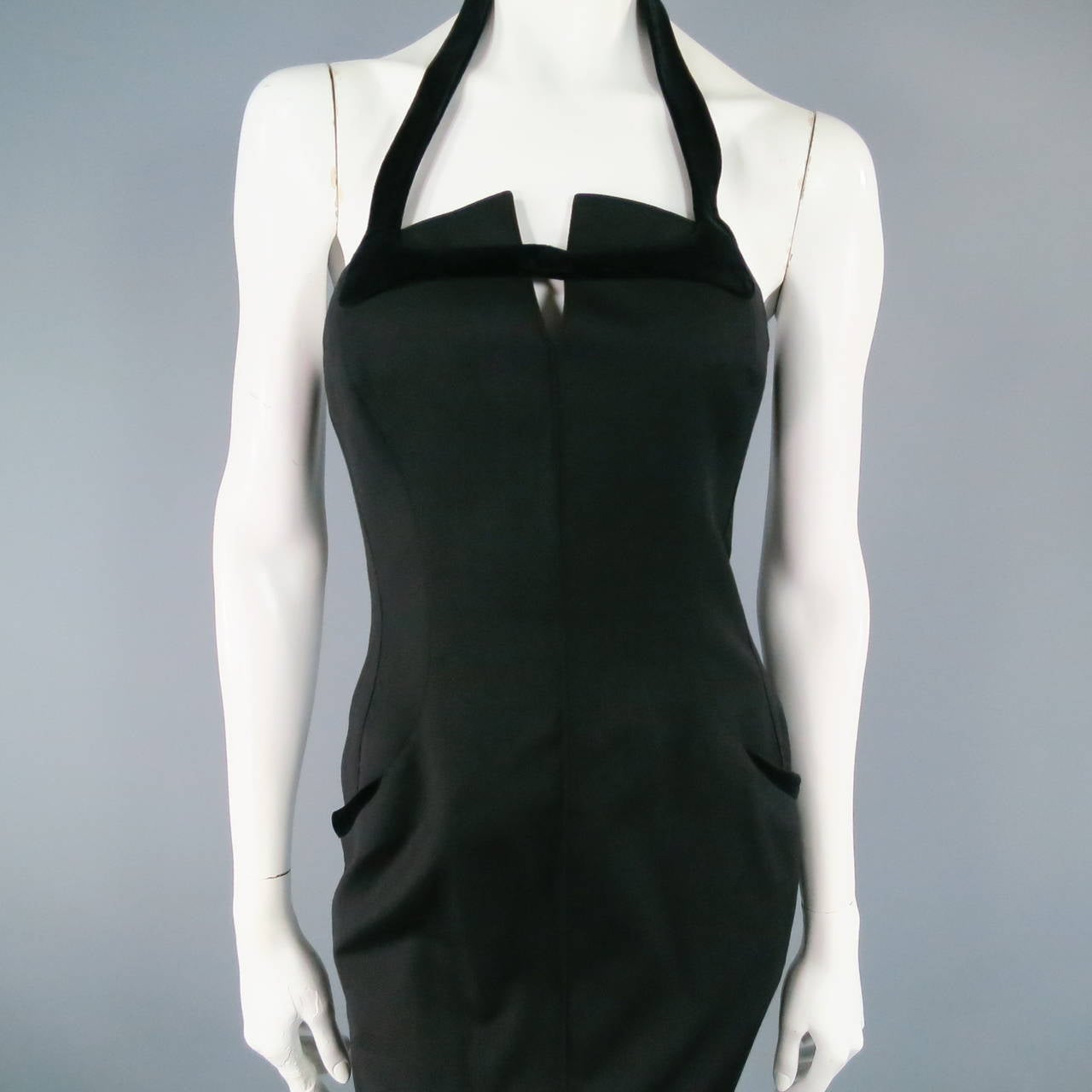 THIERRY MUGLER Size 6 Black Cotton/Wool Cocktail Dress 7