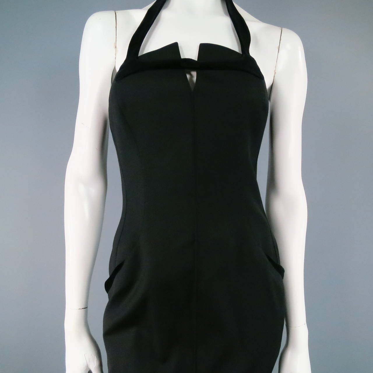 THIERRY MUGLER Size 6 Black Cotton/Wool Cocktail Dress 2