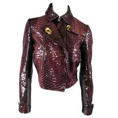 2013's BURBERRY PRORSUM Size 4 Burgundy Python Embossed Patent Leather Jacket