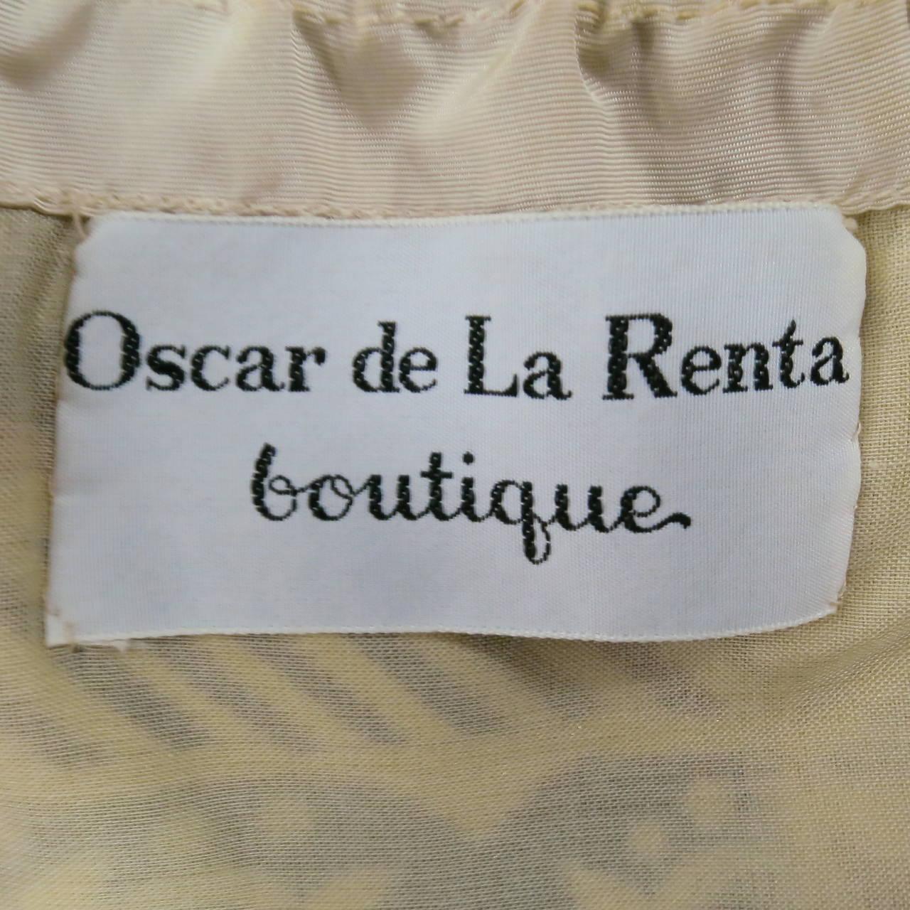 Vintage OSCAR DE LA RENTA Size 2 Gold Brocade Evening Gown 3
