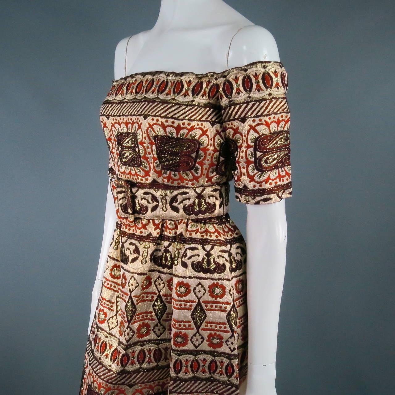 Vintage OSCAR DE LA RENTA Size 2 Gold Brocade Evening Gown 2